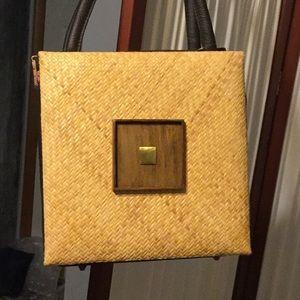 Ratan Handle Bag with Brown Leather Trim. NWT